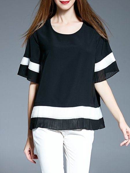 Black-white Pleated Half Sleeve Polyester Blouse