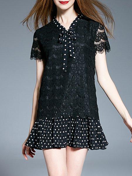 Black Casual V Neck Short Sleeve Lace Mini Dress