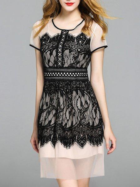 Guipure Lace Short Sleeve Sheath Casual Midi Dress