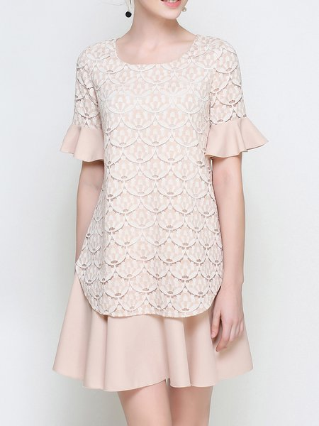 Apricot Frill Sleeve A-line Guipure Lace Mini Dress