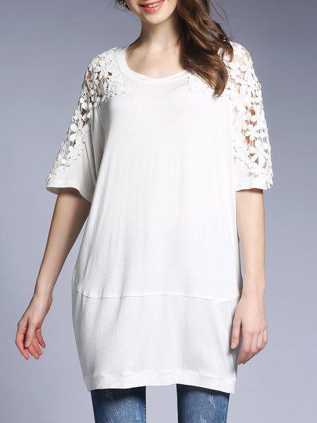 Plus Size White Half Sleeve Appliqued Crocheted Floral Cocoon Tunic