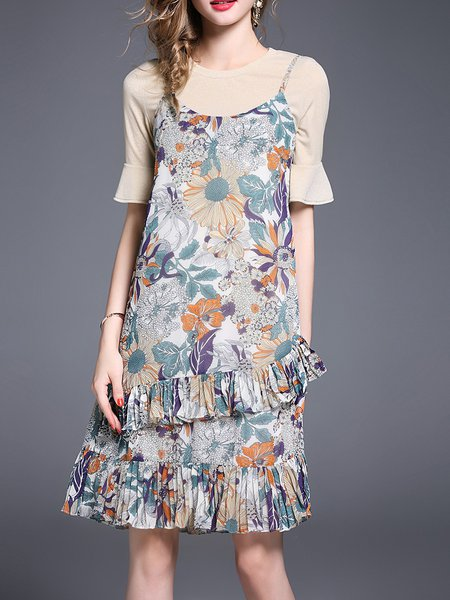 Multicolor Two Piece Floral-print Bell Sleeve Flounce Midi Dress