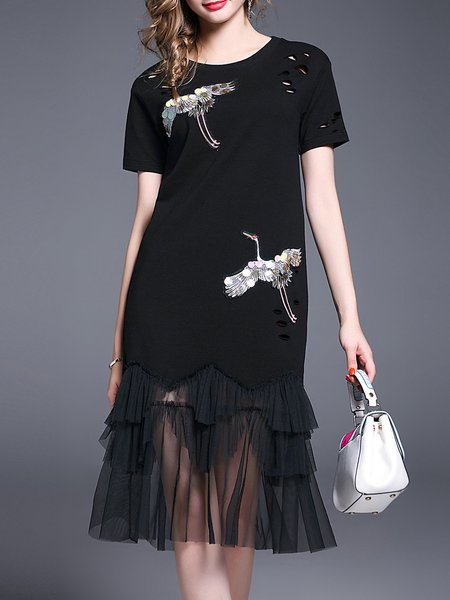 Black Short Sleeve Crew Neck Animal Print Embroidered Midi Dress