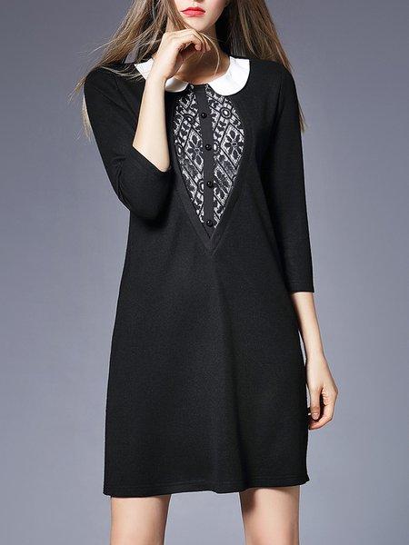Black Cotton H-line Elegant Peter Pan Collar Mini Dress