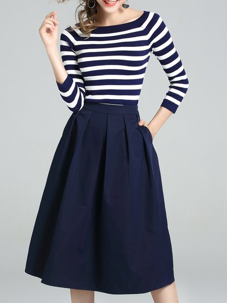 3/4 Sleeve Casual Bateau/boat Neck Jersey Two-piece Set