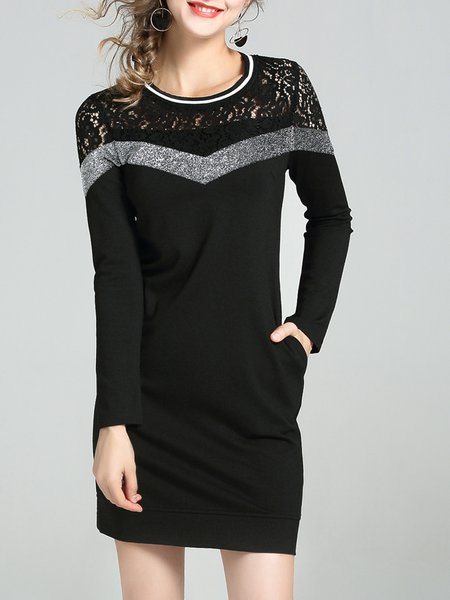 Black Long Sleeve Crochet-trimmed Solid Midi Dress
