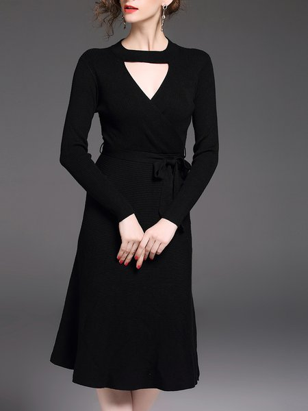 Solid Elegant A-line Long Sleeve Ribbed Midi Dress With Belt