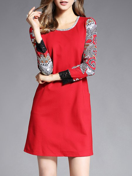 Long Sleeve Casual A-line Printed Crew Neck Midi Dress