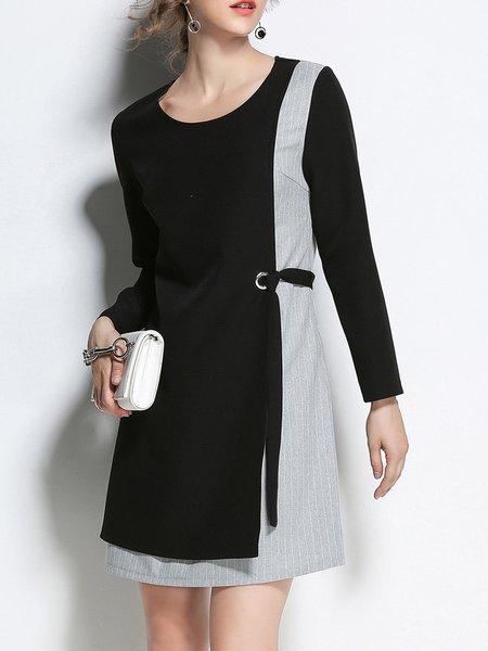 Black-grey  Long Sleeve Midi Dress