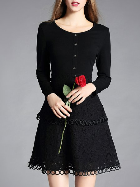 Black Guipure Lace Long Sleeve Midi Dress