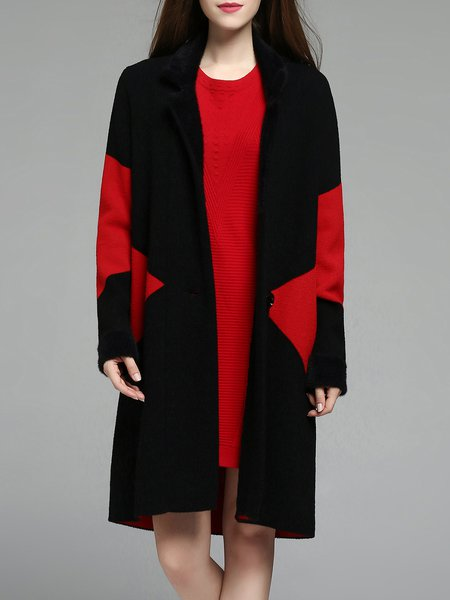 Black H-line Cashmere Long Sleeve Color-block Coat