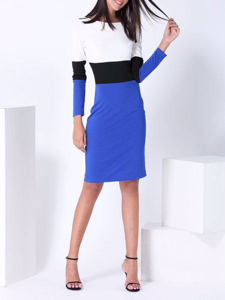 Elegant Color-block Long Sleeve Midi Dress