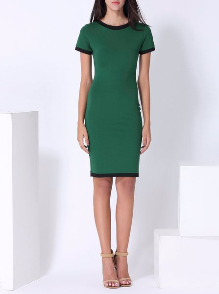 Elegant Sheath Short Sleeve Color-block Crew Neck Midi Dress