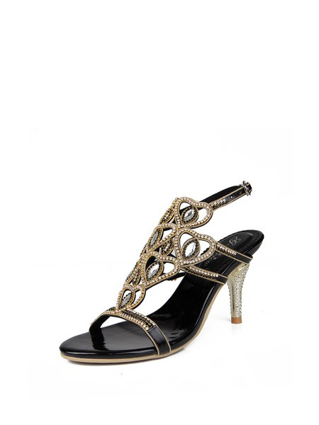 Black Summer PU Rhinestone Stiletto Heel Dress Sandal - StyleWe.com