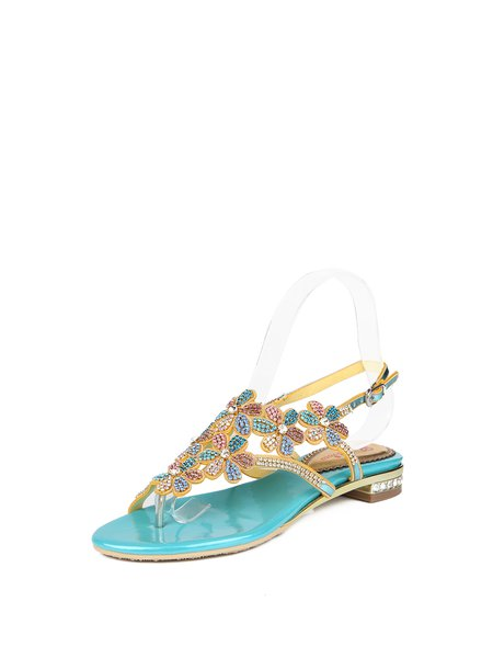 Blue PU Summer Rhinestone Sandals