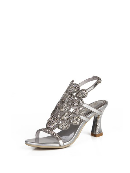 Silver Rhinestone Summer Spool Heel Sandals