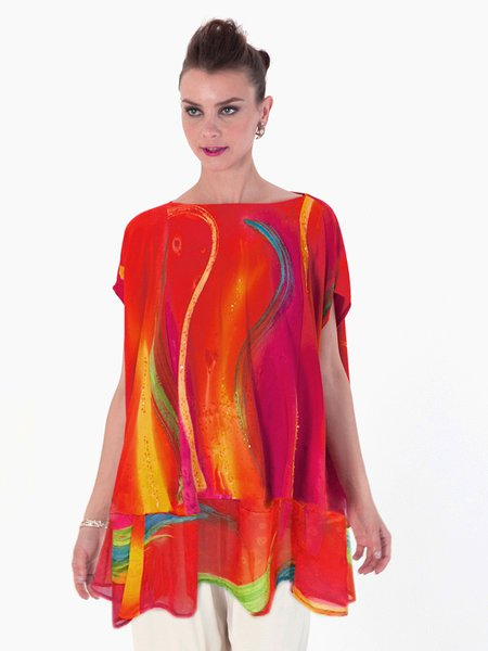 Red Short Sleeve H-line Abstract Blouse