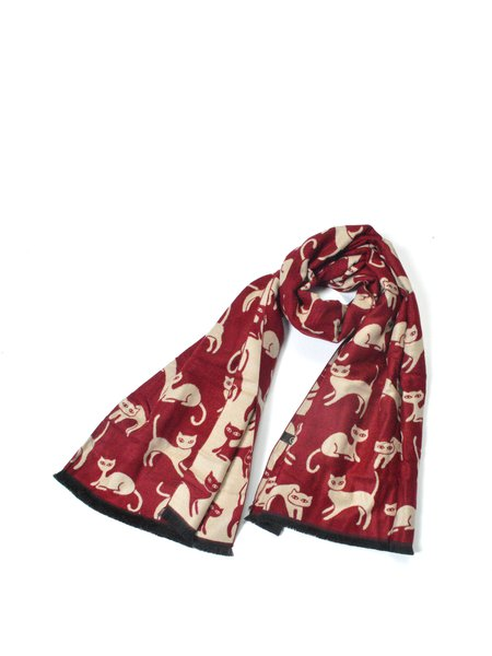Red Casual Viscose Animal Print Scarf