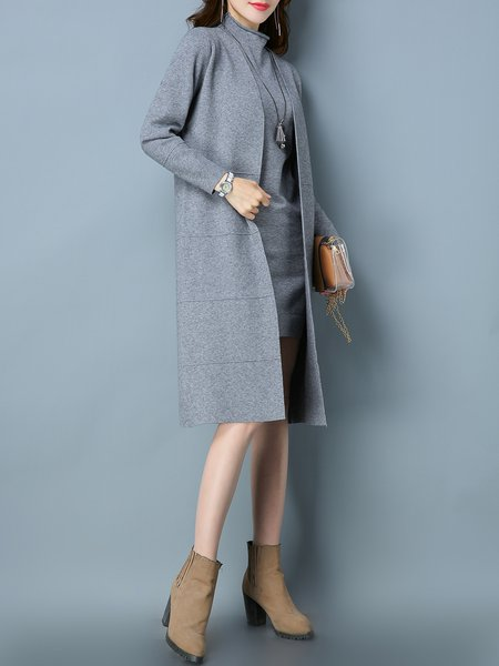 Gray Long Sleeve Stand Collar Dress With Coat - StyleWe.com
