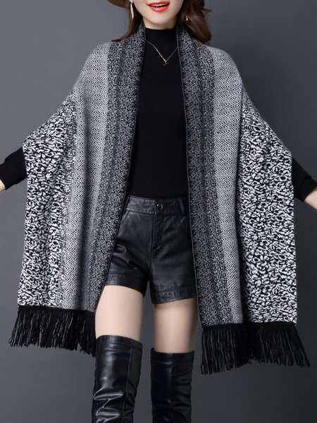 Batwing Abstract Casual Poncho And Cape