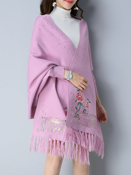 Knitted Embroidered Batwing Casual Poncho And Cape