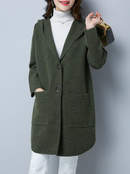 Army Green Solid Elegant Knitted A-line Cardigan