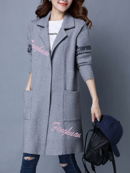 H-line Knitted Casual Long Sleeve Cardigan