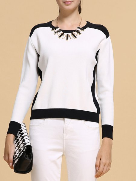 White Knitted H-line Color-block Casual Sweater