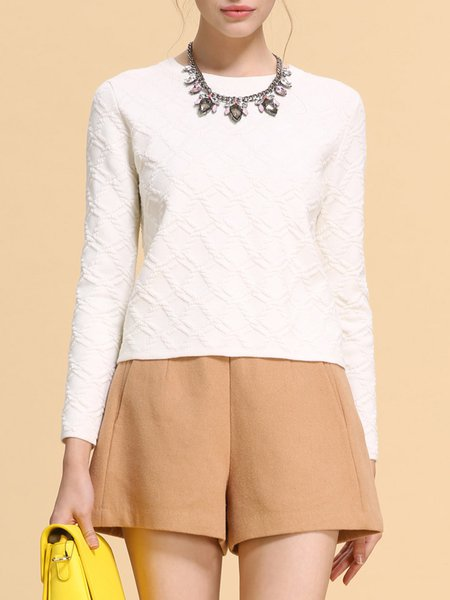 White Crew Neck Casual Knitted Sweater