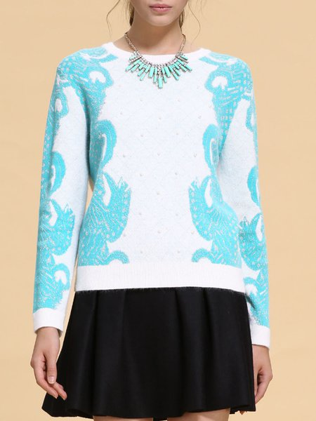 Green Jacquard Long Sleeve Sweater