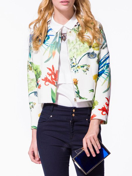 Long Sleeve Casual Printed Cropped Jacket
