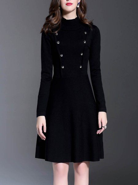Black Turtleneck Long Sleeve Buttoned Plain Midi Dress