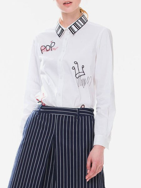 White H-line Long Sleeve Shirt Collar Embroidered Blouse