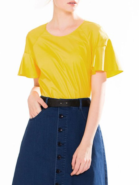 Yellow Casual Crew Neck Ruffled T-Shirt