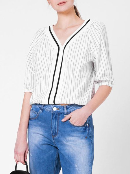Beige Casual Stripes Cropped Top