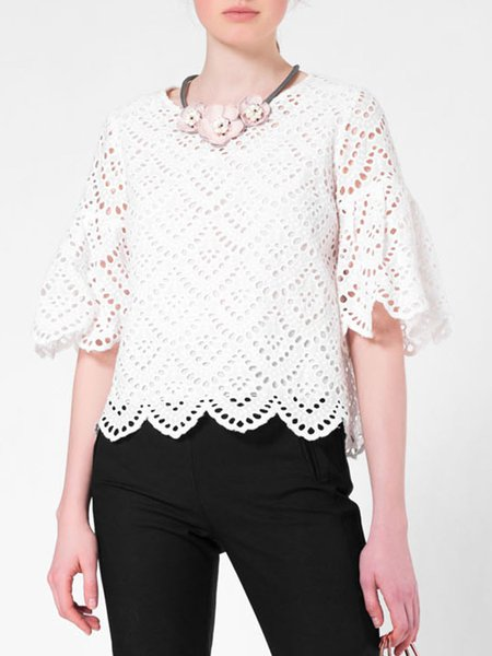 White Pierced Cotton 3/4 Sleeve Long Sleeved Top