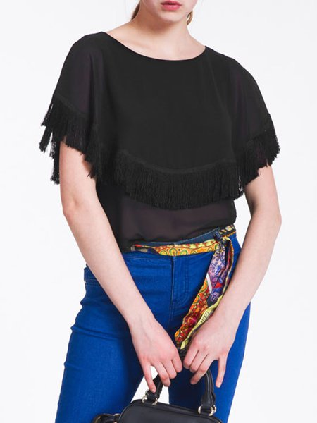Black Simple Fringed Paneled Short Sleeved Top
