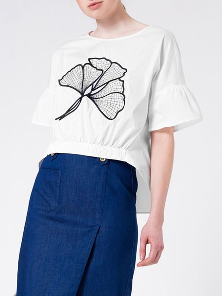 White Ruffled Frill Sleeve Embroidered Crew Neck T-Shirt