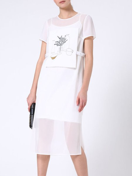 White Paneled Crew Neck Short Sleeve Midi Dress