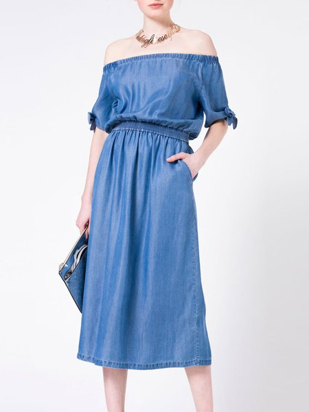 Blue Shirred Plain Off Shoulder Pockets Midi Dress