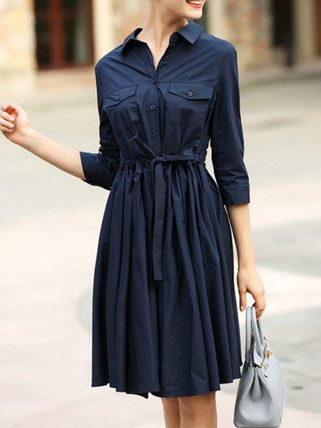 Solid Casual Shirt Collar Half Sleeve Midi Dress