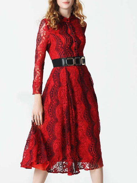 Red Long Sleeve Shirt Collar Guipure Lace A-line Midi Dress