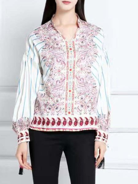 Multicolor Balloon Sleeve Printed Stand Collar Blouse