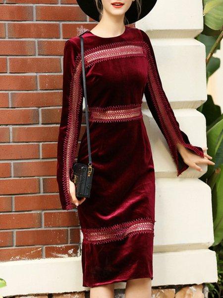 Burgundy Cotton Elegant Crew Neck Midi Dress