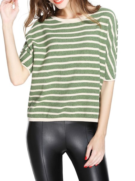 Green Cotton Casual Stripes Sweater