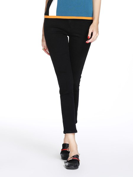 Black Casual Solid Jeans
