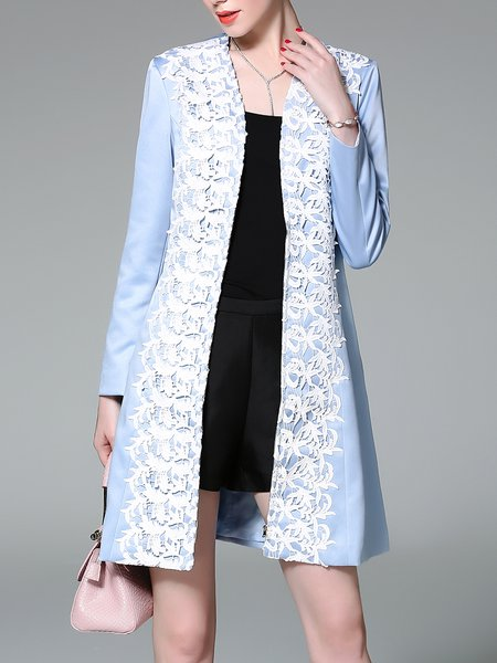 Light Blue Solid Elegant Crochet-trimmed Coat