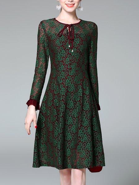 Green Guipure Lace Elegant  Midi Dress