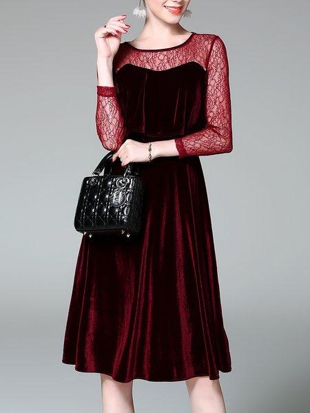 Guipure Lace Crew Neck Elegant Long Sleeve Midi Velvet Dress