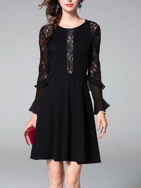 Black Elegant Guipure Lace Midi Dress